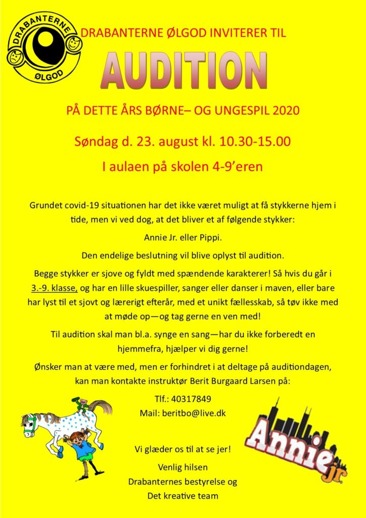 Audition på børne- og ungespil 2020